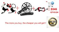 Cheap Special package: bicycle groupset including Carbon crankset+ microshift white-red groupset+road brake caliper