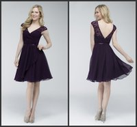 aubergine bridesmaids dresses - A Line Knee Length Chiffon Bridesmaids Dresses KR V Neck Lace Cap Sleeves Short Aubergine Formal Party Gowns Maid Of Honor Dress