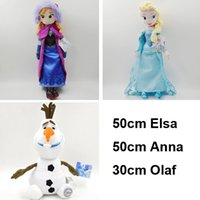 Wholesale 3sets set Frozen cm Princess Elsa Anna cm Olaf the snowman plush toys stuffed dolls cotton Christmas gift Cheap
