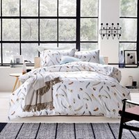 Wholesale 2015 Home Textile cotton white feather print American brief style beddings set bed sheet duvet cover set king queen