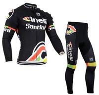santini - Santini Autumn Winter Warm Men Cycling Jacket Bike Bicycle Fleece Long Sleeve Clothing Compressed Outdoor Sport