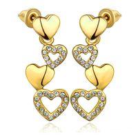 american diamond earrings designs - 2015 Valentine s Day design K gold plated CZ Diamond Heart Dangle Earrings Fashion Jewelry beautiful lovely gift
