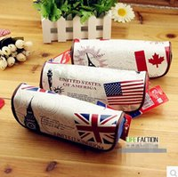 american flag stationery - Small American flag UK Flag Canada pencil case stationery bags storage bag