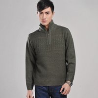 men knitted sweaters - pullover fashion men button Full Casual Clothing embroidery Thick Computer Knitted Acrylic sweater winter turtleneck sweater with zipper