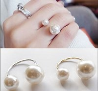 Wholesale Promotion Korean Elegant Women KG Plated Korean Lovely Girls Simulated Pearl KGP Opening Adjustable Ring EH078
