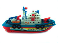 Wholesale 2015 kids Navigation Model Set can move with battery spraying water baby marine rescue boat model J071303