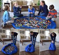 Kids Play Mat tapis de jouets Portable sac pliable grand sac de rangement en nylon sacs Organisateur Rug Box poupées 150cm bleu rose XL