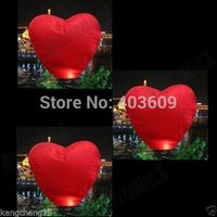 Cheap Wholesale-2psc Red Heart Sky Lanterns Chinese Wishing Lantern Classic Toys Balloon Shape