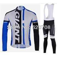 Wholesale hotsale price New Style Giant Autumn Long Sleeve Cycling Jersey Lycar BIB Pant Set No Fleece Inside Sports wear Bicycle clothing Q14005