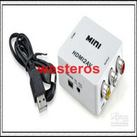 Wholesale High quality Mini HDMI to AV Signal Converter for TV VHS VCR DVD HDMI TO RCA
