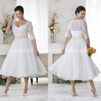 Wholesale 2015 Plus Size Wedding Dresses Tea Length Little Colorful Bridal Gowns with Half Long Sleeves Champagne Waist Lace Personalized Vestidos