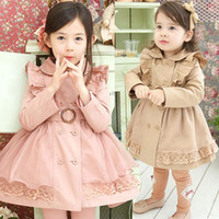 Wholesale Children Coats Jackets girls Romantic Lace Dust Coat With Ruffles princess girl tench coat Double Breasted And Waistband kids winter clothes