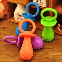 Wholesale Random Color Top Grade Rubber Mini pacifier With Bells Pet Toys Training Molar Chew Pet Dog C at Bite Resistant