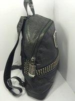 american backpacks - Top quality genuine leather Rivet crocodile leather backpack designer men Backpack K Luxury High quaity Men s skull sport backpack
