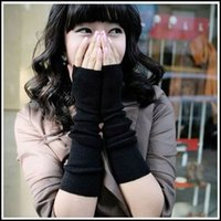 Wholesale 2015 Winter Women Warm Knitted Long Gloves Half Finger Gloves Hand Wrist Fingerless Gloves Warm Cuff Arm Sleeves J090201 DHL