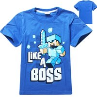 Wholesale Cartoon Christmas Minecraft T shirts Baby Boy Clothes Kids Clothes Boys Clothing Blue Color For Y Summer Free DHL Factory Price