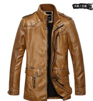 Wholesale 2016 New middle long Rushed Fashion Motorcycle Leather Jacket Men Winter Thick Warm Vintage PU Leather Jackets color Mens Trench Coat