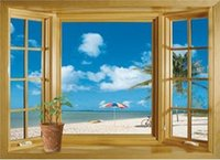 beautiful posters - New arrival D Window Scenery Beautiful Sea Beach View wall sticker fake window wall poster decorative poster