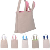Wholesale Hot Fashion Cute Cotton And Linen Easter Bunny Ears Basket Bag For Easter Gift Packing Easter Handbag For Child Fine Festival Gift Free DHL
