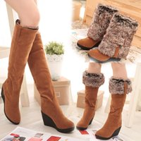 beige wedge heels - Hot Women boots winter heels knee high boots warm cotton padded shoes women high wedges suede leather snow boots
