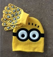 Wholesale 2015 cute baby cartoon spiderman Despicable Me Minions kids boys girls hat cap wool beanie warm outdoor gloves christmas gift