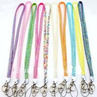 Wholesale Via Fedex Bling Bling Phone Chain Strap Lanyard Crystal Rhinestone Neck Lanyard Lobster Claw Clasp Many Colors