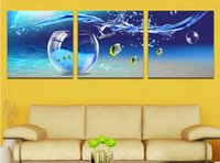 Cheap 3 Panel Hot Sell Modern Wall Painting Home Decorative Art Picture Paint on Canvas Prints The kind of beautiful fish and bubbles