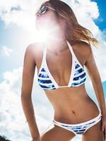 Bikinis Set best tankini swimsuits - Best Selling Tankini Sets Bikini Blue and White Stripes Printed Swimsuits Fashion Women Halter Summer Sexy Swimwears Bikinis Set M575