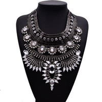 chunky necklaces - 2015 Big Fashion Statement Necklace Women Metal Chain Crystal Fashion Necklace Costume Chunky Choker Bib Necklace N210