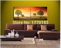 background christmas pictures - large cheap abstract hand painting on canvas tree landscape painting on yellow background pictures for living room wall art