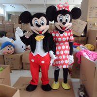 Ratón mascota Pareja Tamaño traje adulto de Mickey Mouse y Minnie de la mascota Disfraces Traje de Halloween vestido de lujo del traje (1803004)