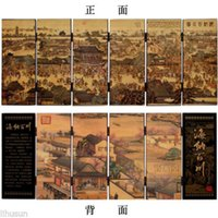 ancient cities - Chinese Vintage Ancient City Scenery Wooden Lacquer Six Pieces Folding Screen