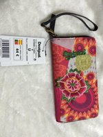 Wholesale new Purple desigual Clutch ladies purse multi Card Wallet Handbag PU twill printing embroidery Free postage Desigual wallet