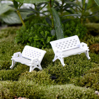 Wholesale 8pcs Beach Bench Chair Small Fairy garden decoration miniatures Glass Ball terrarium figurine Moss zakka resin craft ornaments