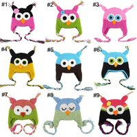Wholesale 50pcs Toddler Owl Ear Flap Crochet Hat Children Handmade Crochet OWL Beanie Hat Handmade OWL Beanie Kids Hand Knitted Hat