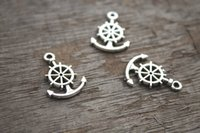 antique ships wheel - 25pcs Anchor Charms Antique Silver Tone anchor with Ship Wheel rudder charm x11mm