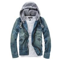 Veste en jean hommes Veste à capuchon Jean streetwear Slim fit Vintage Veste et manteau pour homme en plein air Vêtements Jeans Plus grande taille 4XL 5XL JK033