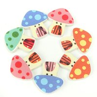 Wholesale 50pcs Wood Button Mushroom Print Mixed Holes DIY Sewing Scrapbooking Craft Lovely Multicolor Printing Design