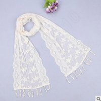 Wholesale 300PCS LJJL25 Lady Triangle Silk Scarf New Fashion Scarf Tassel Flower Lace Scarves Wrap Shawl Mantilla