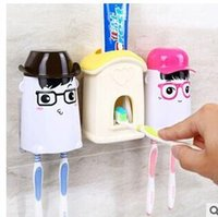 Wholesale Automatic Toothpaste Dispenser Toothbrush Holder Set Wall Mount Stand Toothbrush Family Sets Cartoon Toothpaste Squeezing Device Seven Sty