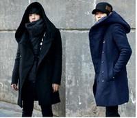 achat en gros de mens long manteau à capuchon-Hiver Hommes Long Laine Trench Coat Mâle Hooded Veste Manteau Style Coréen Pour Hommes Warm Dress Overcoat Plus Size