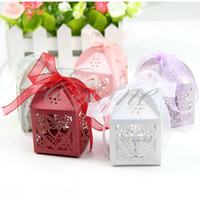 gift wrapping paper - 50pcs Love Heart Laser Cut Gift Candy Boxes Wedding Party Favor With Ribbon Gift Wrap