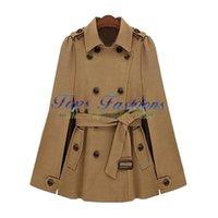 Cheap Winter Women's 2014 Brand Designer Fashion Overcoat Manteau Camel Lapel Split Drawstring Buttons Double Breasted Belt Cape Coat