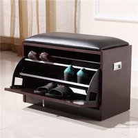 Wholesale Wood Shoe Cabinet Shoe Rack with Sear Living Room Storage Chest Wood Ottoman Brown Color Stock in US