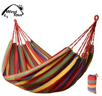 Wholesale 190cm cm Outdoor Garden Hammock Travel Camping Swing Sleeping Hang Bed Hammock with Storage Bag Hanging Rope