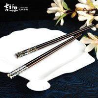 acid import - New Chinese style imported mahogany chopsticks Know taste Black acid graft with shells premium green home