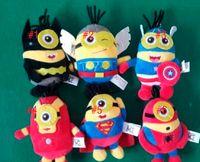 Wholesale 100pcs cm Avengers Q Version Despicable Me minion Iron Man Spiderman Superman Thor Batman American Captain Plush Dolls Sfuffed