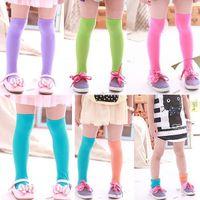 Wholesale New Kids Baby Girls Candy Color Knee Hight Socks Soft Velvet Stockings Y