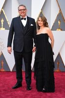 adam dresses - 88th Academy Awards Adam McKay Black Chiffon Red Carpet Celebrity Dresses Oscars Sexy Strapless Backless Plus Size Evening Prom Gown