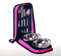 Wholesale Outdoor bowls of stainless steel tableware A portable home camping double package tour travel cutlery set for a picnic